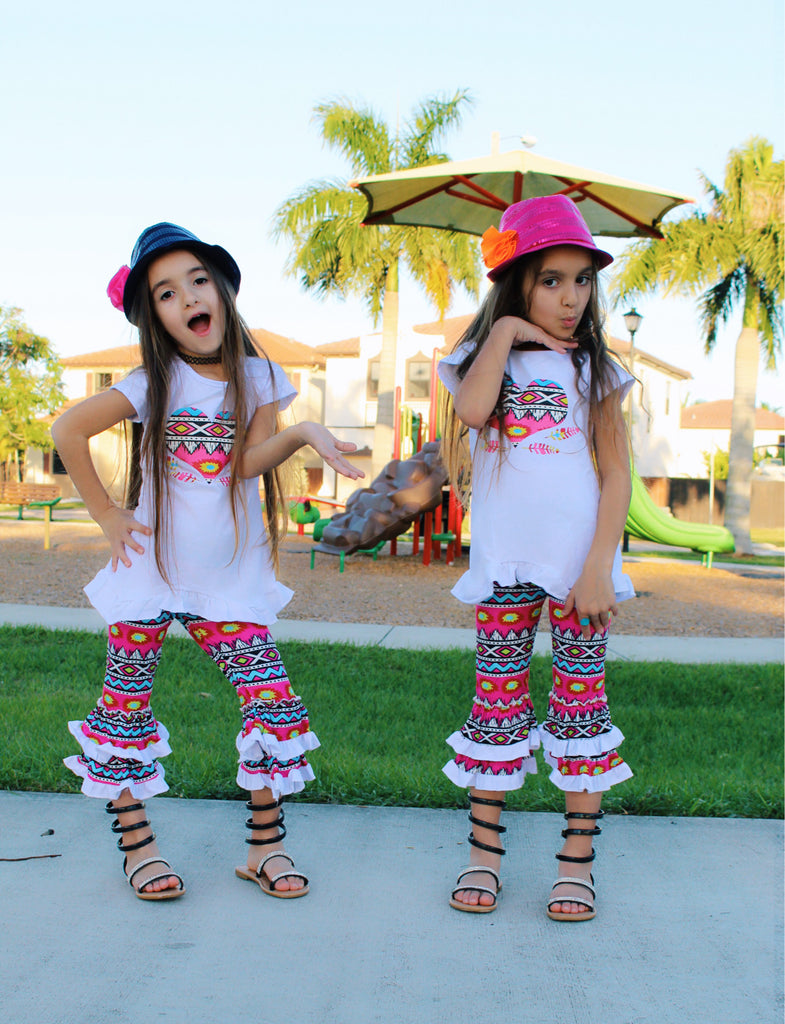 Neon Tribal Heart Tunic & Ruffle Capris