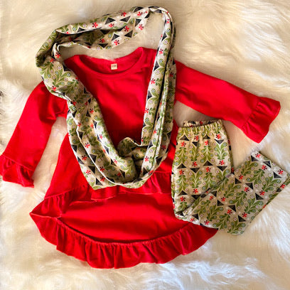 Joy! Hi Lo Tunic, Leggings, and Infinity Scarf Set