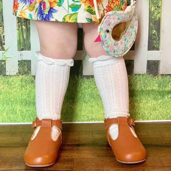 Bow Back Ruffle Top Knee Socks