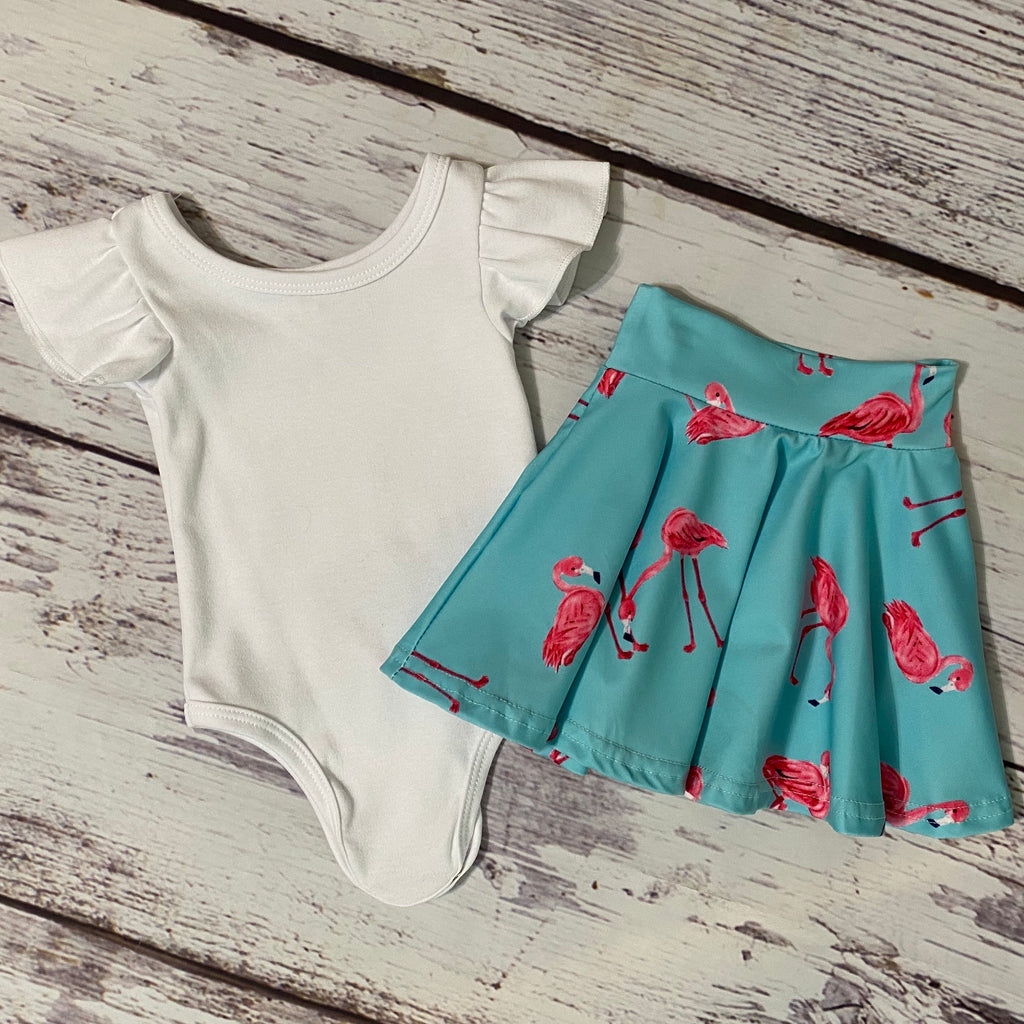 Fancy Flamingos Bodysuit & Skater Skirt