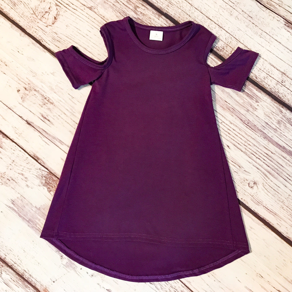The Harper Cold Shoulder Dress in purple