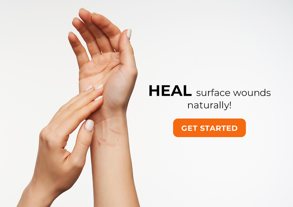 Surface wounds healed with body oils