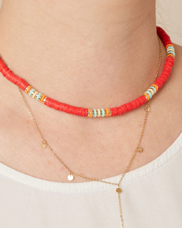 Wave Lover Necklace - Red - we are SASSY.