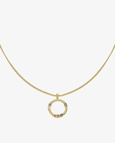 Zirconia Circle Necklace - Gold - we are SASSY.
