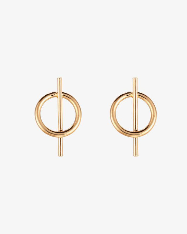 Crossed Circle Earrings - Gold - we are SASSY.