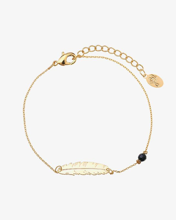 Feather Bracelet - Gold - we are SASSY.