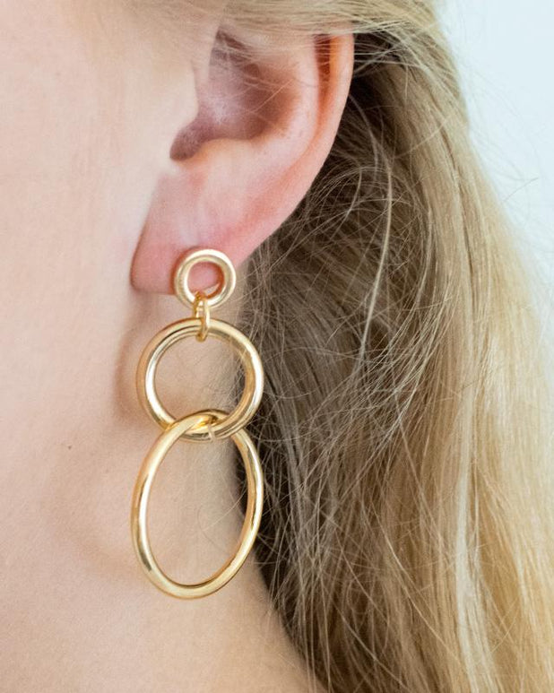 Triple Circle Hoops - Gold - we are SASSY.