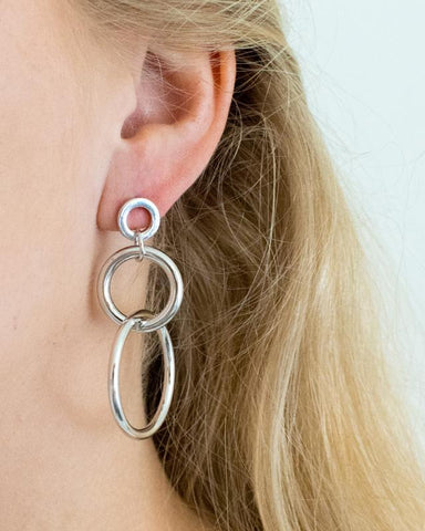 Triple Circle Hoops - Silver - we are SASSY.