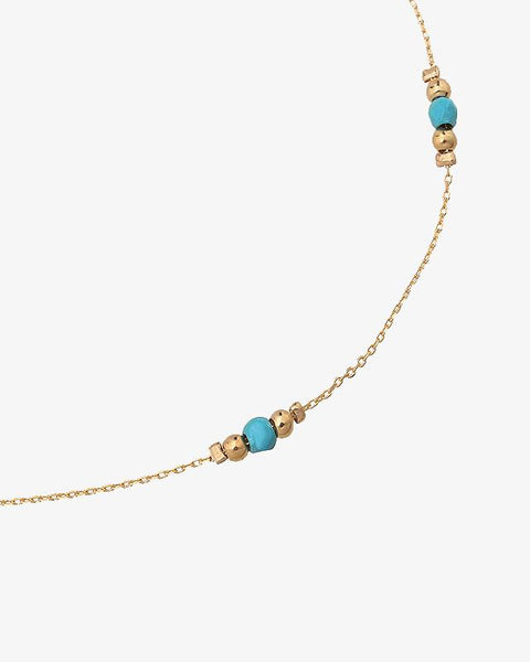 Golden Beads Ankle Strap - Blue