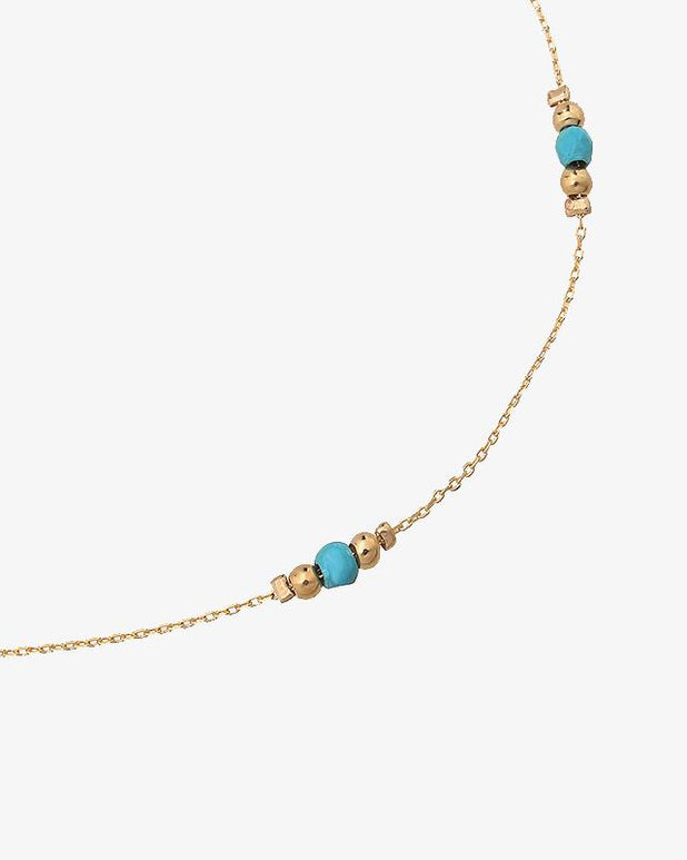 Golden Beads Ankle Strap - Blue - we are SASSY.