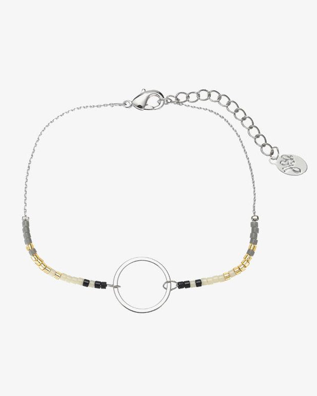 Beads & Oval Bracelet - Silver - we are SASSY.