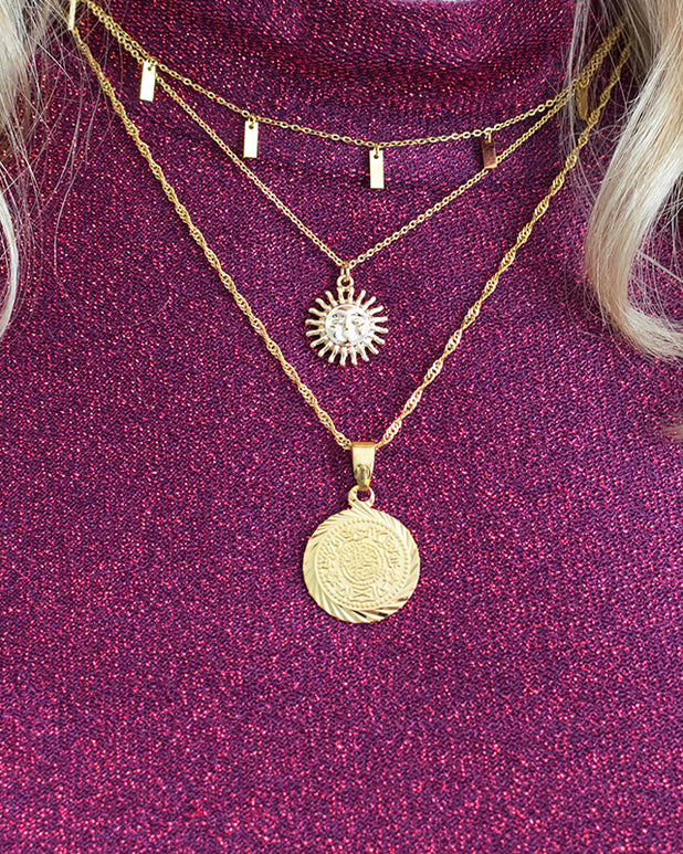 Burning Sun Necklace - Gold - we are SASSY.