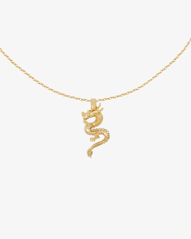 Chinese Dragon Necklace - Gold - we are SASSY.