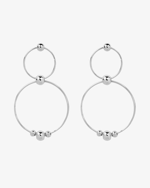 Duo Circle Hoops - Silver