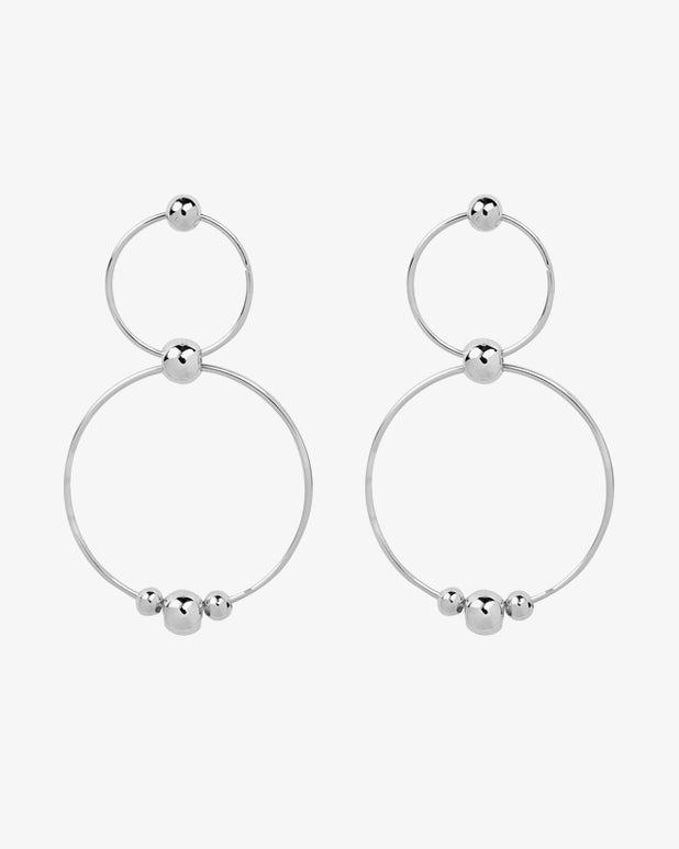 Duo Circle Hoops - Silver - we are SASSY.