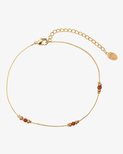 Golden Beads Ankle Strap - Pink