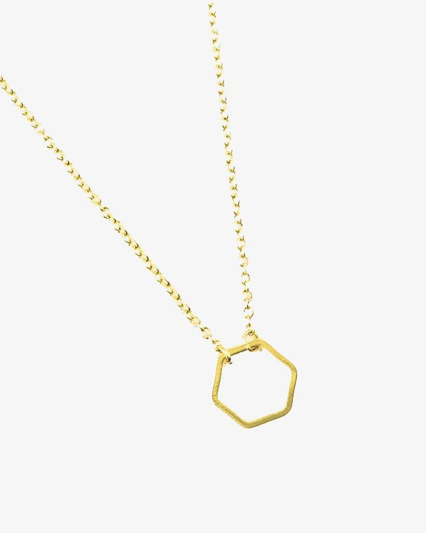 Hexagon Necklace - Gold - we are SASSY.