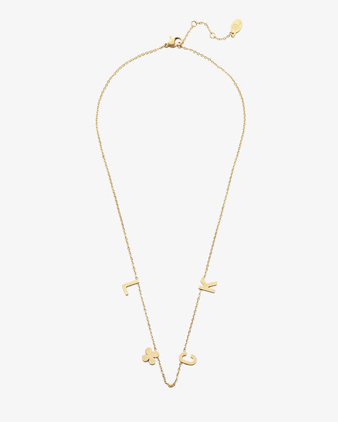 Luck Quote Necklace - Gold