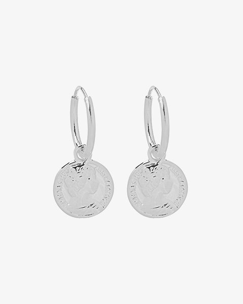 Lucky Coin Earrings - Silver