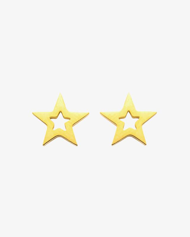 Single Star Earrings - Gold - we are SASSY.