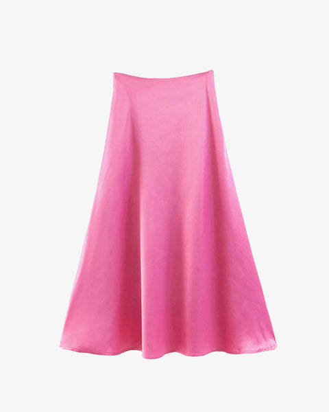 Silky Satin Skirt - Pink