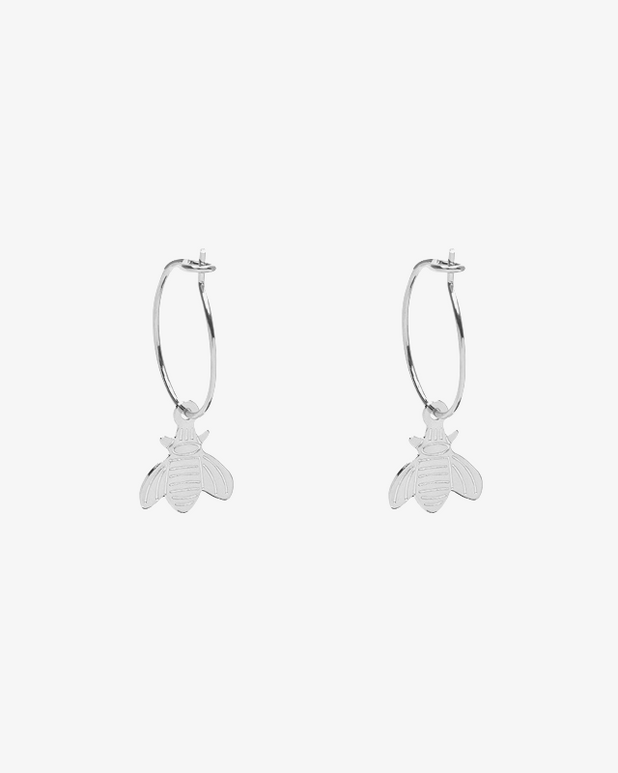 Small Bee Earrings - Silver - we are SASSY.