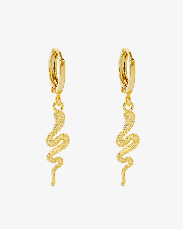 Sssassy Snake Earrings - Gold - we are SASSY.