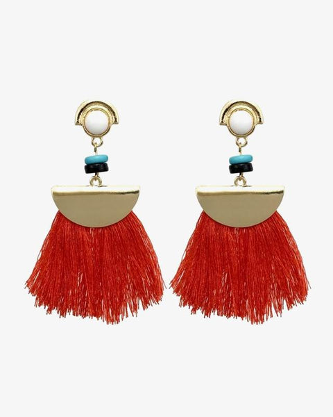 Statement Tassel Earrings - Red