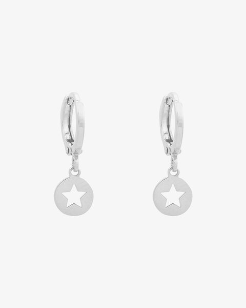 Surrounded Star Earrings - Silver