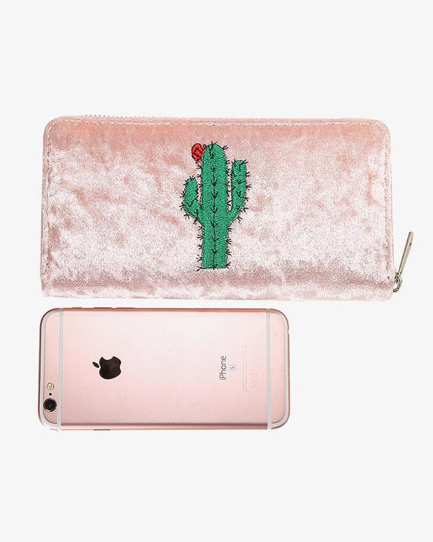 Velvet Cactus Wallet - Pink - we are SASSY.