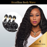 Brazilian Body Wave 4 Bundle Deal with Free Closure