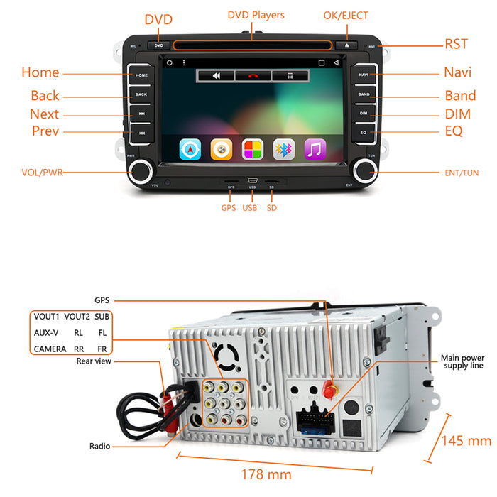 android car dvd radio player for vw golf passat polo. Black Bedroom Furniture Sets. Home Design Ideas