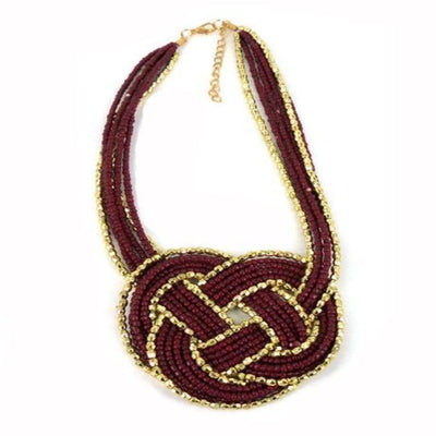 NE6618 Necklace - Burgundy Bead