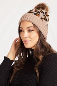 warm brown Leopard Beanie hat