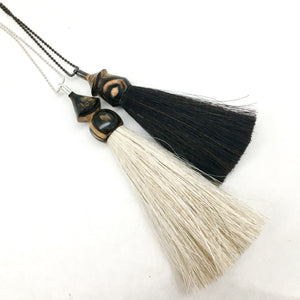 WS black & white ebony tassel necklace