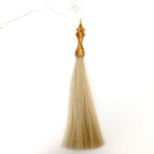 olivewood tassel necklace
