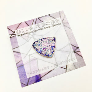 february birthstone enamel pin
