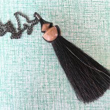 black and white ebony tassel necklace