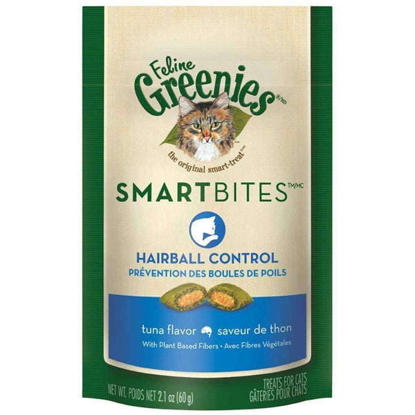 FELINE GREENIES SMARTBITES Hairball Control Treats for Cats Tuna Flavor 2.1oz, Greenies