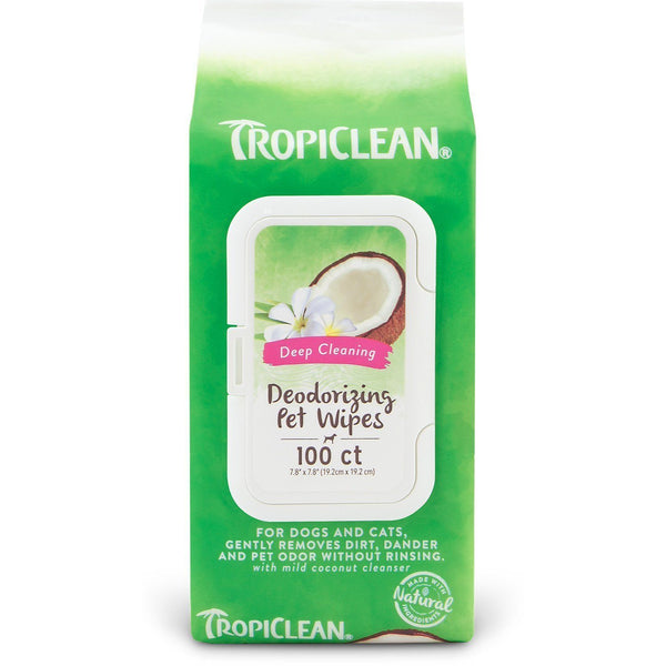 TropiClean Deep Cleaning Deodorizing Pet Wipes 100ct, Tropiclean