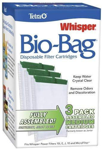 Tetra Bio-Bag Disposable Filter Cartridges Medium - For Whisper 10, 10i, E, J & Micro Power Filters (3 Pack), Tetra
