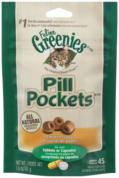 FELINE GREENIES PILL POCKETS Treats for Cats Chicken Flavor 1.6oz, Greenies