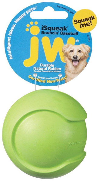 JW iSqueak Bouncin' Baseball Dog Toy Medium, JW Pet