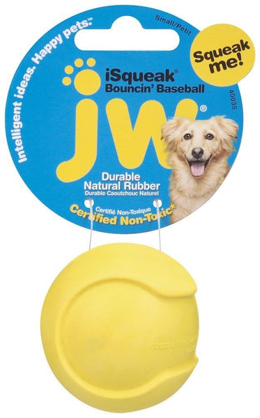 JW iSqueak Bouncin' Baseball Dog Toy Small, JW Pet