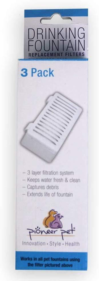 Pioneer Pet T-shaped Filter for Food & Water Station and Serene Fountain 3-Pack, Pioneer Pet