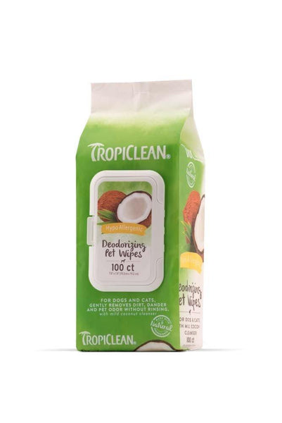 TropiClean Hypo Allergenic Deodorizing Pet Wipes 100ct, Tropiclean