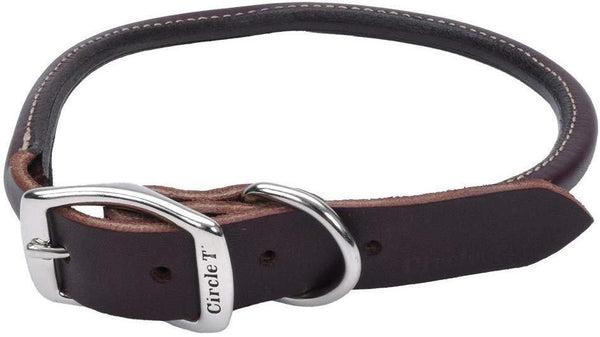 Coastal Circle T Latigo Leather Round Dog Collar 1X24in, Coastal Pet