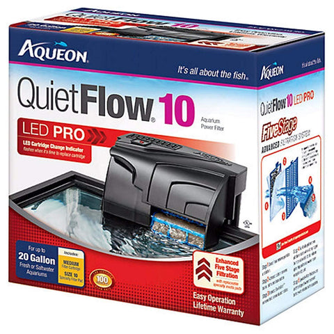 Aqueon QuietFlow 10 LED Pro Aquarium Power Filter 10-20gal, Aqueon