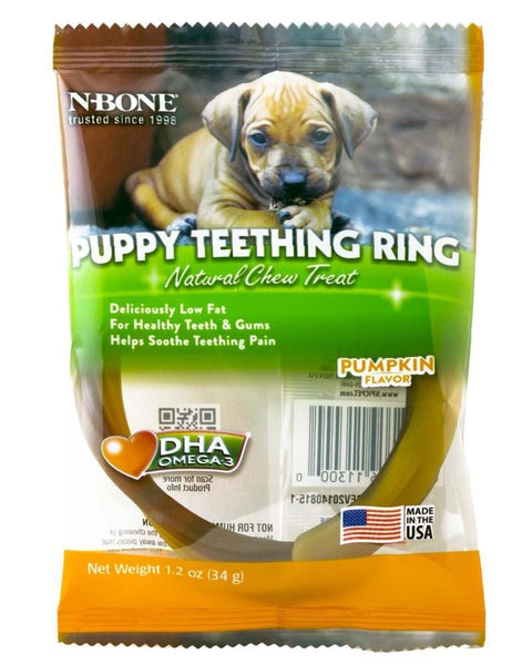 N-Bone Puppy Teething Ring Pumpkin Flavor Single, N-Bone