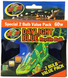 Zoo Med Daylight Blue Reptile Bulb 60 Watt 2 Pack, Zoo Med